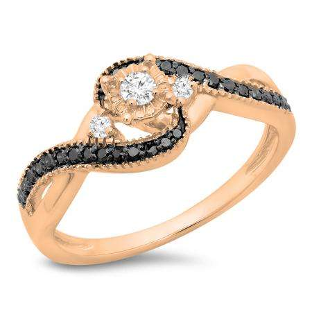 0.33 Carat (ctw) 10K Rose Gold Round Cut Black & White Diamond Ladies Bridal Twisted Swirl 3 Stone Engagement Ring 1/3 CT