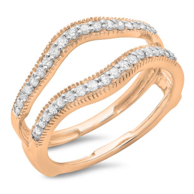 0.40 Carat (ctw) 10K Rose Gold Round Cut Diamond Ladies Anniversary Wedding Enhancer Guard Double Ring
