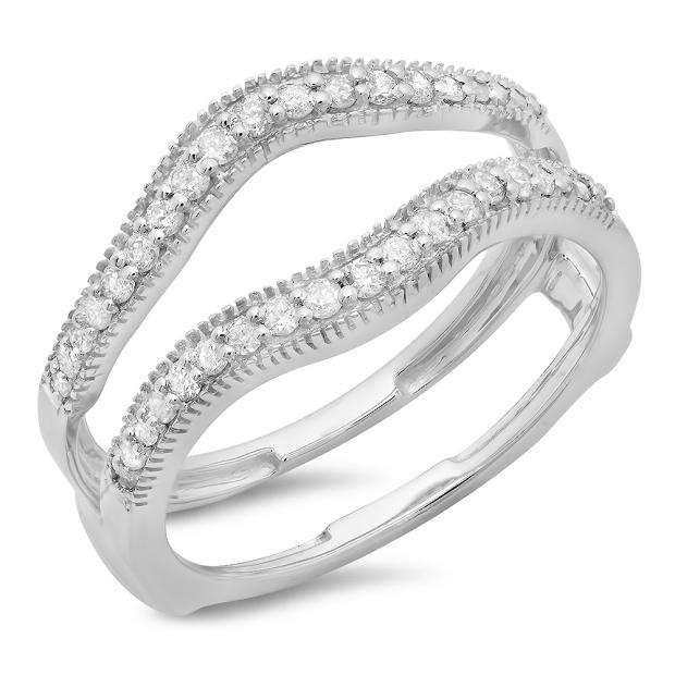 0.40 Carat (ctw) 10K White Gold Round Cut Diamond Ladies Anniversary Wedding Enhancer Guard Double Ring