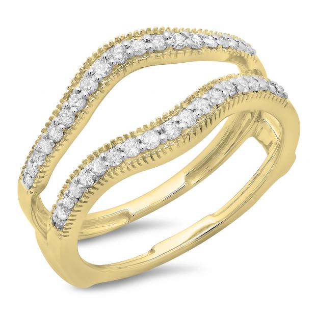 0.40 Carat (ctw) 10K Yellow Gold Round Cut Diamond Ladies Anniversary Wedding Enhancer Guard Double Ring