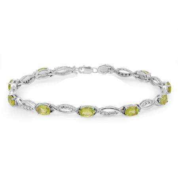 4.82 Carat (ctw) Sterling Silver Real Oval Cut Genuine Peridot & Round White Diamond Ladies Link Bracelet