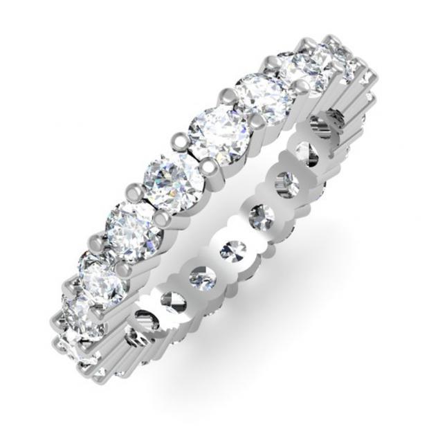 2.10 Carat (ctw) 14K White Gold Round Diamond Ladies Eternity Anniversary Stackable Ring Wedding Band