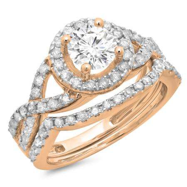 1.30 Carat (ctw) 10K Rose Gold Round Cut Diamond Ladies Bridal Swirl Split Shank Halo Engagement Ring With Matching Band Set 1 1/3 CT