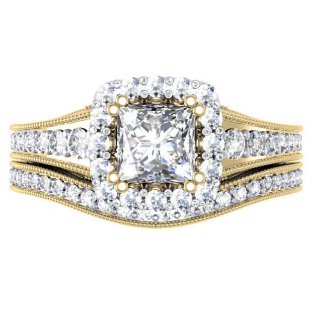 1.50 Carat (ctw) 10K Yellow Gold Princess & Round Diamond Ladies Halo Bridal Engagement Ring Set 1 1/2 CT