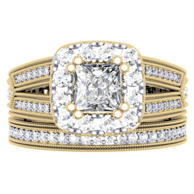 1.50 Carat (ctw) 10K Yellow Gold Princess & Round Cut Diamond Ladies Split Shank Halo Style Bridal Engagement Ring With Matching Band Set 1 1/2 CT