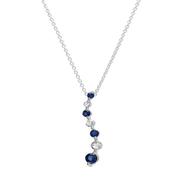 0.15 Carat (ctw) 18K White Gold Round White Diamond & Blue Sapphire Ladies Graduating Journey of Life Pendant