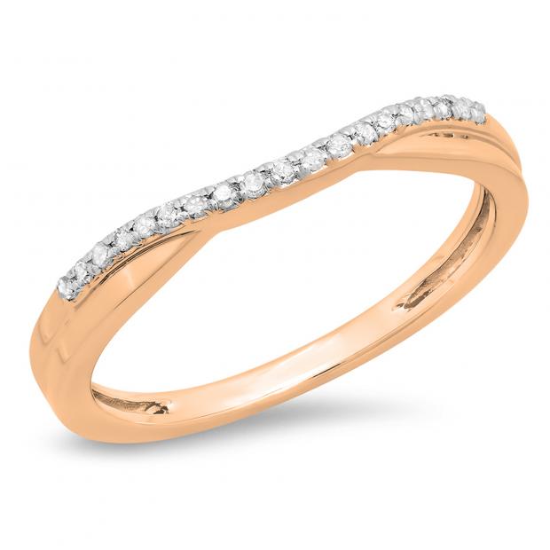 0.11 Carat (ctw) 18K Rose Gold Round Cut White Diamond Ladies Anniversary Wedding Guard Contour Band