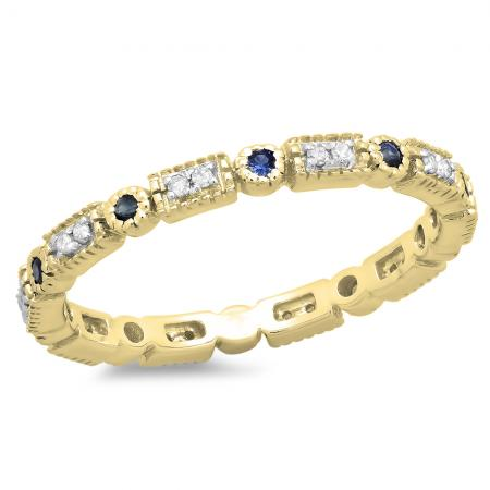 0.25 Carat (ctw) 18K Yellow Gold Round Blue Sapphire And White Diamond Ladies Vintage Style Anniversary Wedding Eternity Band Stackable Ring 1/4 CT