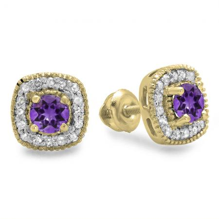 0.75 Carat (ctw) 14K Yellow Gold Round Cut Amethyst & White Diamond Ladies Halo Stud Earrings 3/4 CT