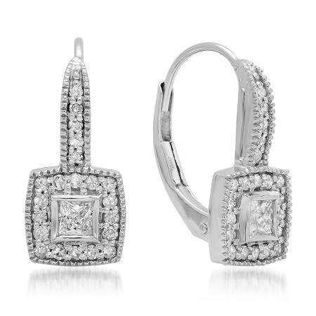 0.50 Carat (ctw) 10K White Gold Princess & Round Cut Diamond Ladies Cluster Halo Style Drop Earrings 1/2 CT