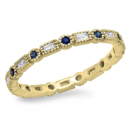 0.40 Carat (ctw) 10K Yellow Gold Round & Baguette Blue Sapphire & White Diamond Ladies Vintage Style Anniversary Wedding Eternity Band Stackable Ring