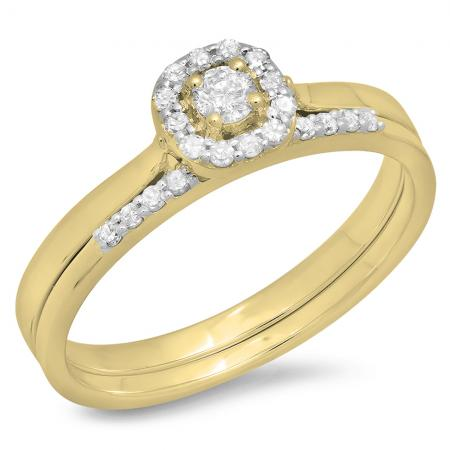 0.30 Carat (ctw) 10K Yellow Gold Round Cut Diamond Ladies Bridal Halo Engagement Ring With Matching Band Set 1/3 CT