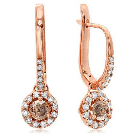 0.43 Carat (ctw) 10K Rose Gold Round Champagne & White Diamond Ladies Halo Style Dangling Drop Earrings