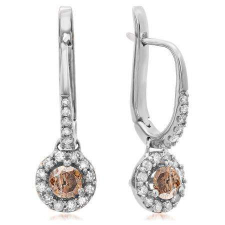 0.43 Carat (ctw) 10K White Gold Round Champagne & White Diamond Ladies Halo Style Dangling Drop Earrings