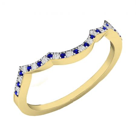 0.12 Carat (ctw) 10K Yellow Gold Round Cut Blue Sapphire & White Diamond Ladies Anniversary Wedding Stackable Band Contour Guard Ring