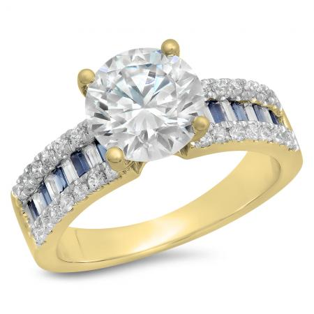 5.80 Carat (ctw) 10K Yellow Gold Round & baguette Blue Sapphire & White Cubic Zirconia CZ Classic Solitaire with Accents Bridal Engagement Ring