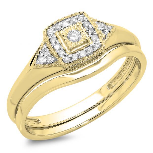 0.15 Carat (Ctw) 10K Yellow Gold Round White Diamond Ladies Bridal Engagement Ring Matching Band Set