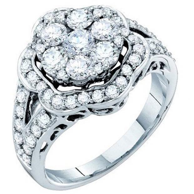 178c255bf 2.00 Carat (ctw) 14K White Gold Round Cut White Diamond Ladies Cluster  Flower Engagement Ring 2 CT