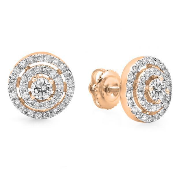 0.70 Carat (ctw) 10K Rose Gold Round Cut White Diamond Ladies Circle Halo Stud Earrings 3/4 CT