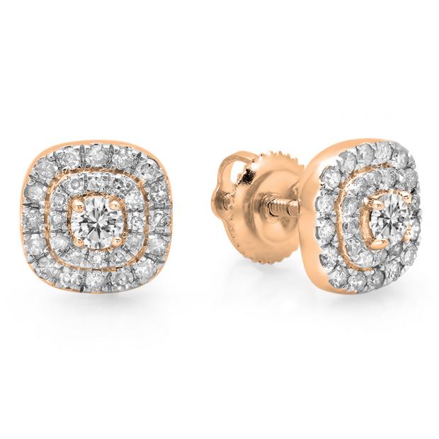 0.55 Carat (ctw) 10K Rose Gold Round Cut White Diamond Ladies Square Frame Halo Stud Earrings 1/2 CT