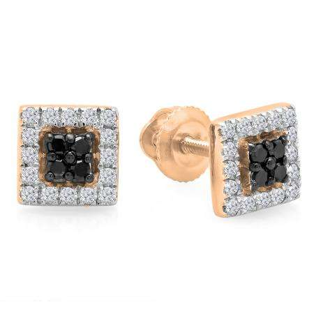0.25 Carat (ctw) 10K Rose Gold Round Cut Black & White Diamond Square Shaped Stud Earrings 1/4 CT