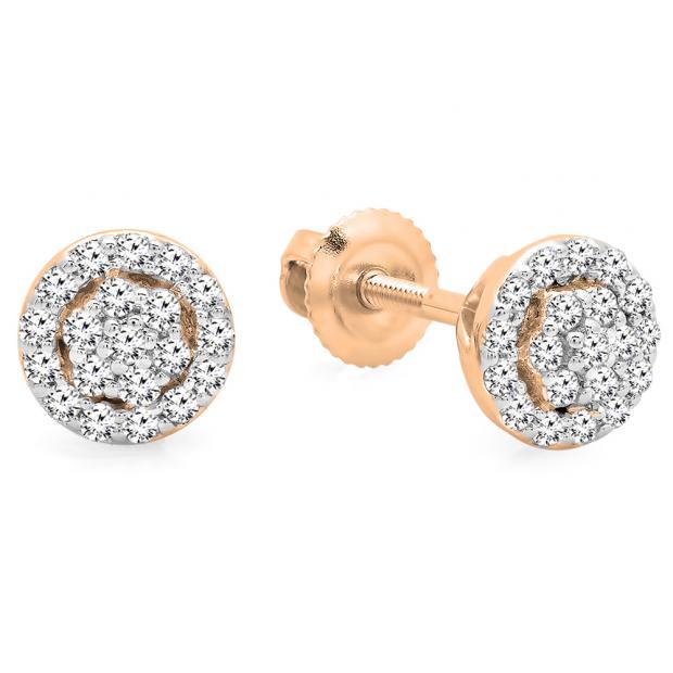 0.25 Carat (ctw) 10K Rose Gold Round White Diamond Ladies Circle Cluster Stud Earrings 1/4 CT
