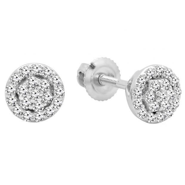 0.25 Carat (ctw) 10K White Gold Round White Diamond Ladies Circle Cluster Stud Earrings 1/4 CT