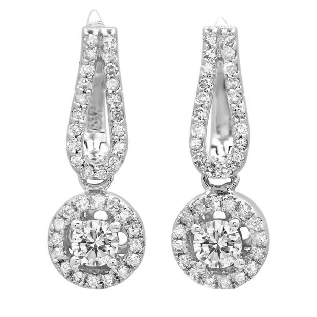 0.60 Carat (ctw) 10K White Gold Round White Diamond Ladies Halo Style Dangling Drop Earrings