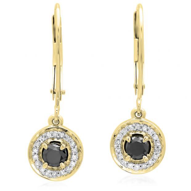 0.50 Carat (ctw) 10K Yellow Gold Round Cut Black & White Diamond Ladies Halo Style Dangling Drop Earrings 1/2 CT