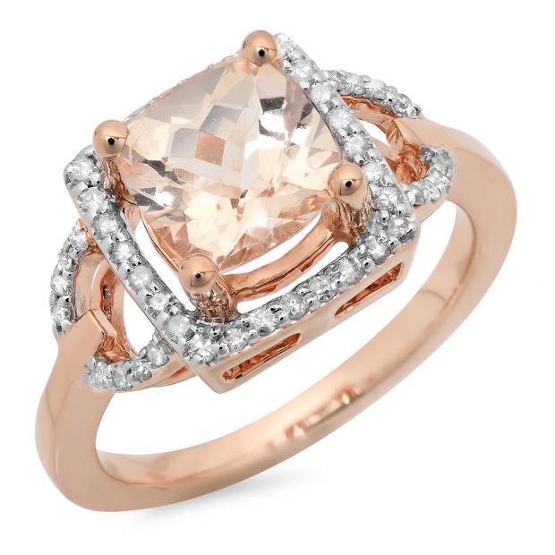 2.15 Carat (ctw) 14K Rose Gold Cushion Cut Morganite & Round Cut White Diamond Ladies Bridal Halo Style Engagement Ring