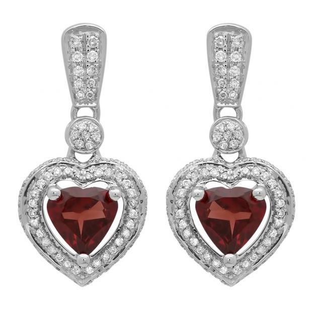 2.20 Carat (ctw) 10K White Gold Heart Cut Red Garnet & Round Cut White Diamond Ladies Heart Dangling Earrings