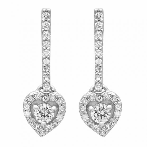 0.50 Carat (ctw) 10K White Gold Round White Diamond Ladies Heart Dangling Drop Earrings 1/2 CT