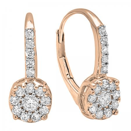 60b23b2a9 0.55 Carat (ctw) 18K Rose Gold Round Cut White Diamond Ladies Cluster Style Dangling  Drop Earrings 1/2 CT