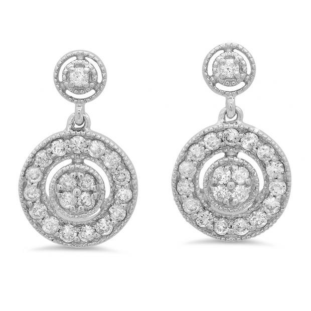 0.60 Carat (ctw) 10K White Gold Round White Diamond Ladies Circle Cluster Style Dangling Earrings