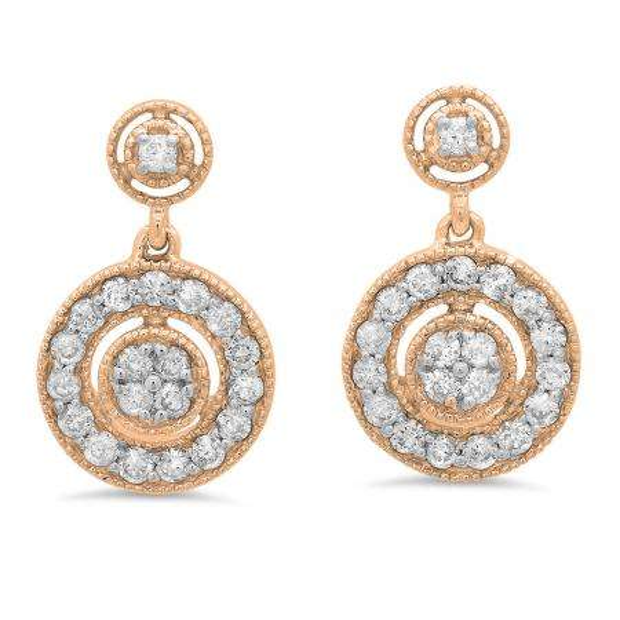0.60 Carat (ctw) 14K Rose Gold Round White Diamond Ladies Circle Cluster Style Dangling Earrings
