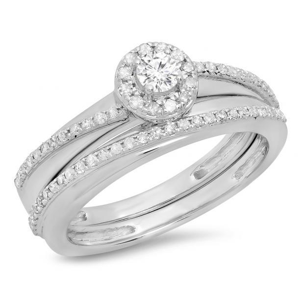 0.45 Carat (ctw) 14K White Gold Round White Diamond Ladies Bridal Halo Style Engagement Ring Set 1/2 CT