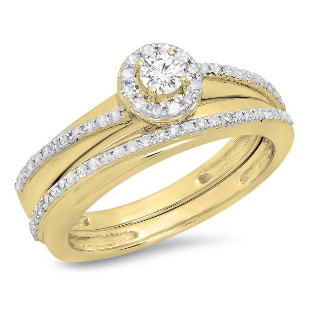 0.45 Carat (ctw) 14K Yellow Gold Round White Diamond Ladies Bridal Halo Style Engagement Ring Set 1/2 CT