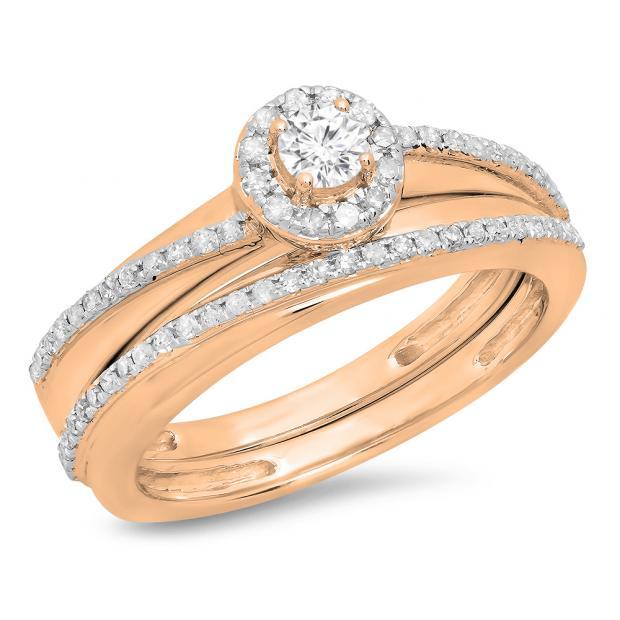 0.45 Carat (ctw) 18K Rose Gold Round White Diamond Ladies Bridal Halo Style Engagement Ring Set 1/2 CT