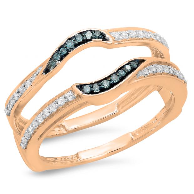 0.30 Carat (ctw) 18K Rose Gold Round Blue & White Diamond Ladies Anniversary Wedding Band Enhancer Double Guard Ring 1/3 CT