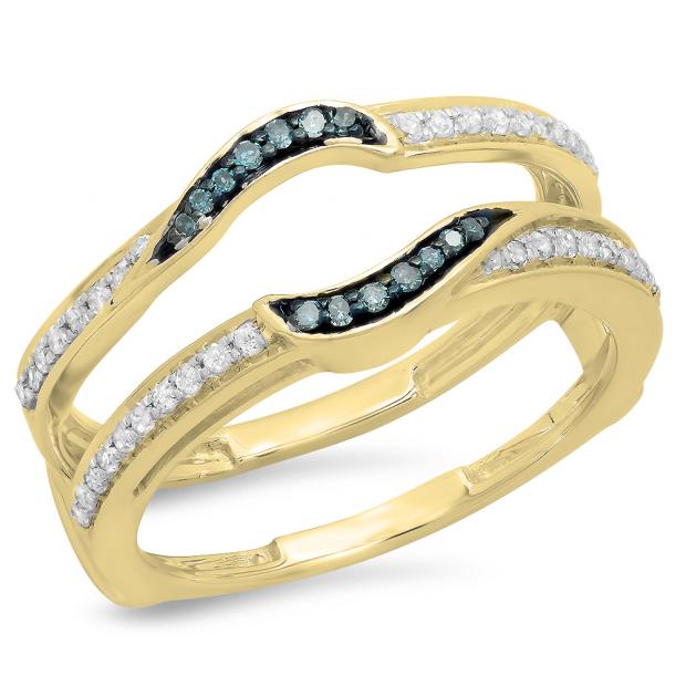 0.30 Carat (ctw) 18K Yellow Gold Round Blue & White Diamond Ladies Anniversary Wedding Band Enhancer Double Guard Ring 1/3 CT