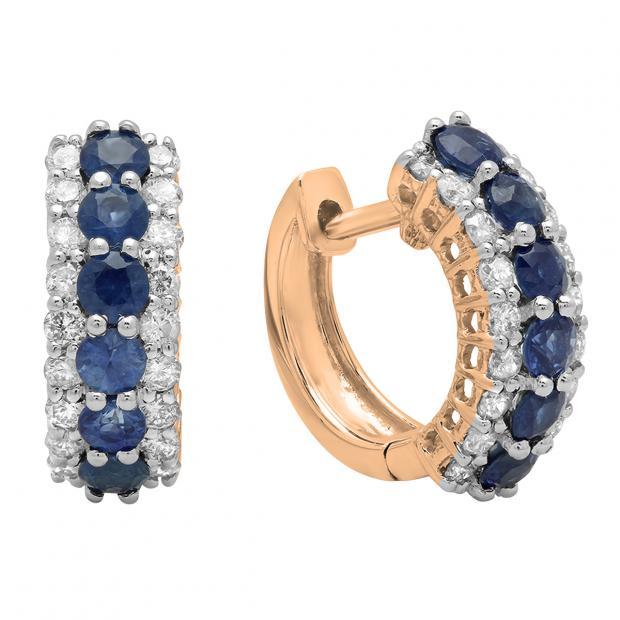 1.40 Carat (Ctw) 14K Rose Gold Round White Diamond & Blue Sapphire Ladies Huggies Hoop Earrings