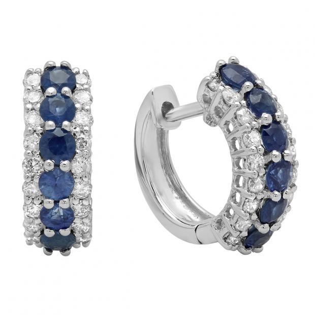 1.40 Carat (Ctw) 14K White Gold Round White Diamond & Blue Sapphire Ladies Huggies Hoop Earrings