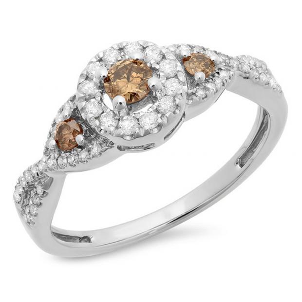 0.60 Carat (ctw) 10K White Gold Round Champagne & White Diamond Ladies Swirl 3 Stone Split Shank Bridal Engagement Ring
