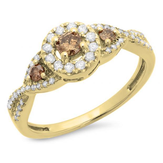 0.60 Carat (ctw) 14K Yellow Gold Round Champagne & White Diamond Ladies Swirl 3 Stone Split Shank Bridal Engagement Ring