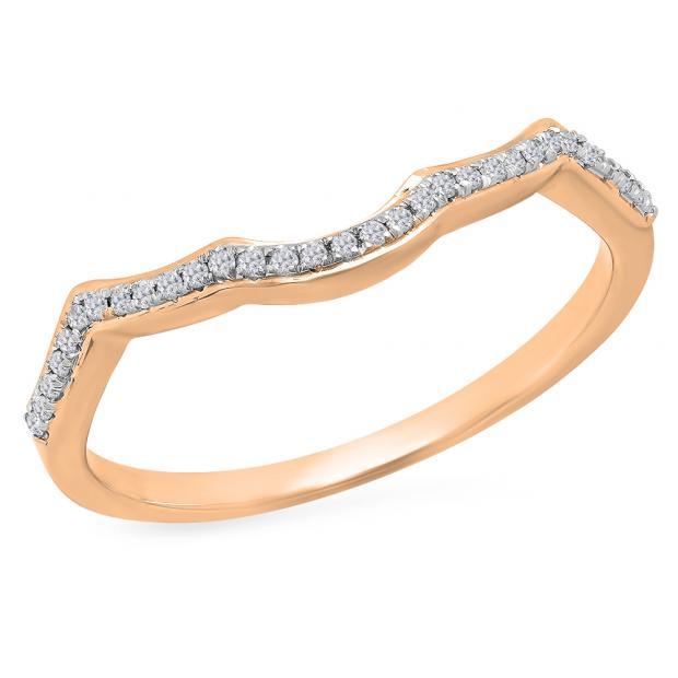 0.10 Carat (ctw) 10K Rose Gold Round Cut White Diamond Ladies Anniversary Wedding Stackable Band Contour Guard Ring 1/10 CT