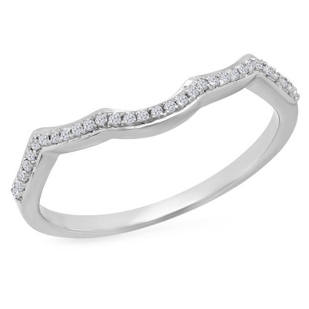 0.10 Carat (ctw) 10K White Gold Round Cut White Diamond Ladies Anniversary Wedding Stackable Band Contour Guard Ring 1/10 CT