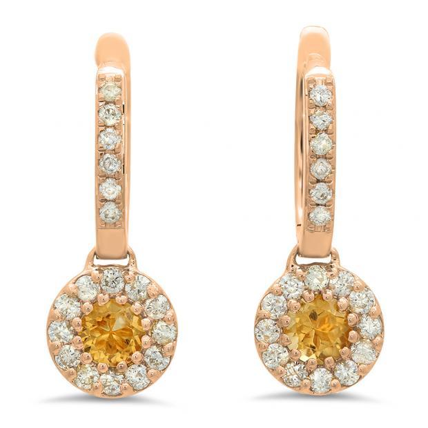 1.00 Carat (ctw) 18K Rose Gold Round Citrine & White Diamond Ladies Circle Halo Style Dangling Drop Earrings 1 CT