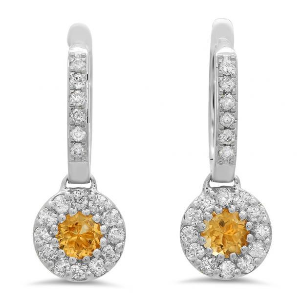 1.00 Carat (ctw) 18K White Gold Round Citrine & White Diamond Ladies Circle Halo Style Dangling Drop Earrings 1 CT