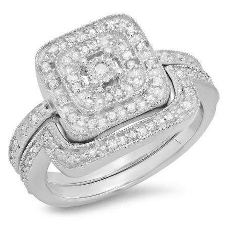 0.30 Carat (ctw) Sterling Silver Round White Diamond Ladies Bridal Halo Style Engagement Ring With Matching Band Set 1/3 CT