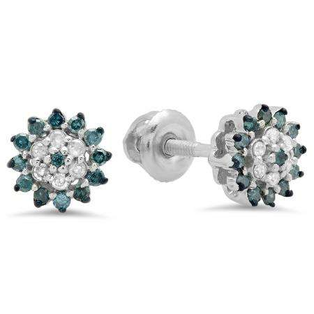 0.25 Carat (ctw) Sterling Silver Round Blue & White Diamond Ladies Cluster Style Stud Earrings 1/4 CT